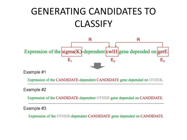 GENERATING CANDIDATES TO CLASSIFY