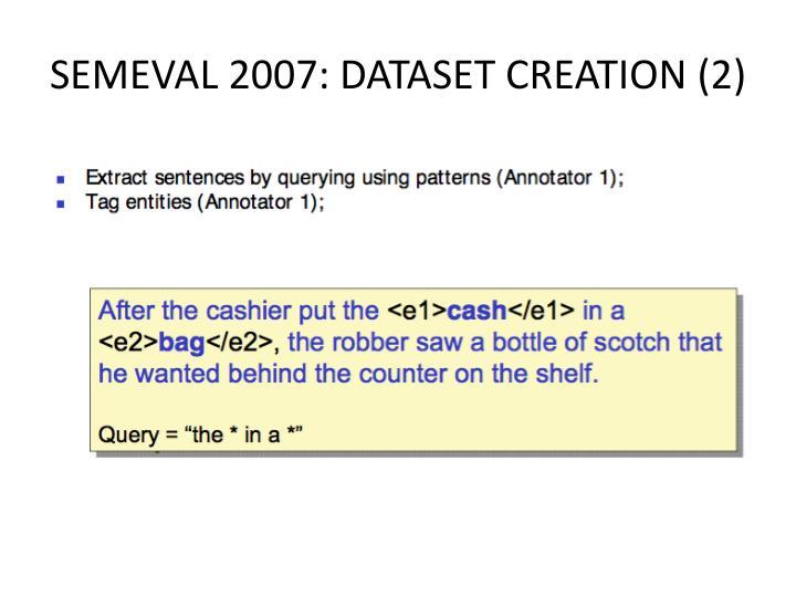 SEMEVAL 2007: DATASET CREATION (2)