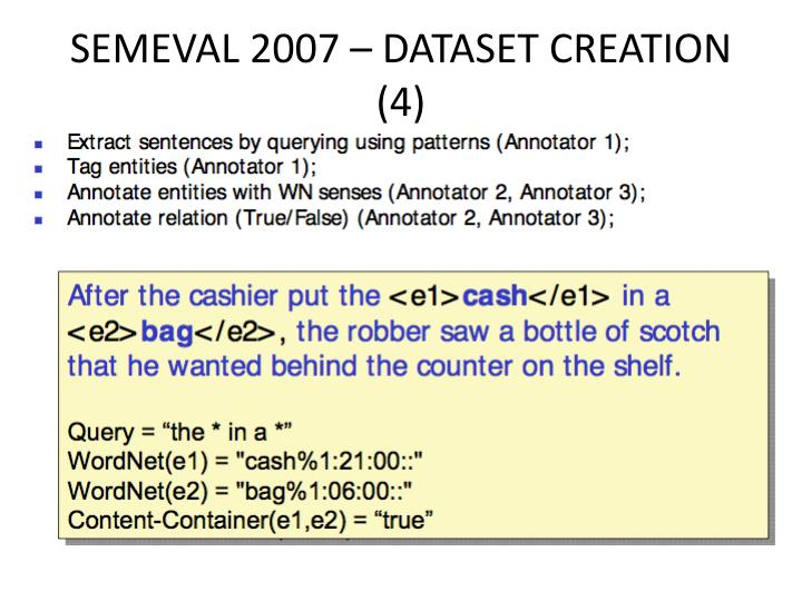 SEMEVAL 2007 – DATASET CREATION (4)