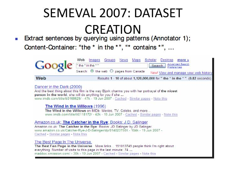 SEMEVAL 2007: DATASET CREATION