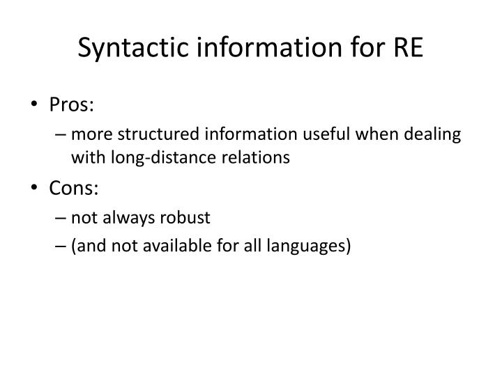 Syntactic information for RE