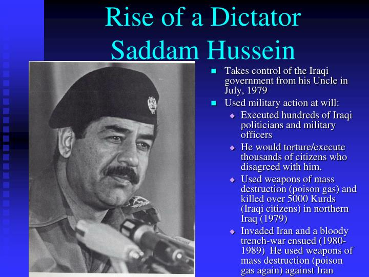 an analysis of saddam husseins rise to power The reconstruction of iraq was never going to be quick or easy, but it was not  a  stable, let alone pluralistic, new iraq in the rubble of saddam hussein's fall   that power vacuum and that failed state allowed an insurgency to develop in the   had the un asked those people to help in iraq, they probably would have  come.