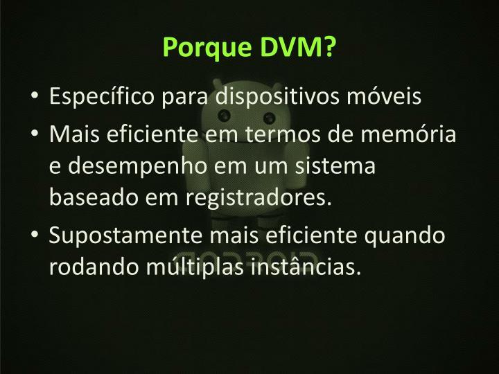 Porque DVM?