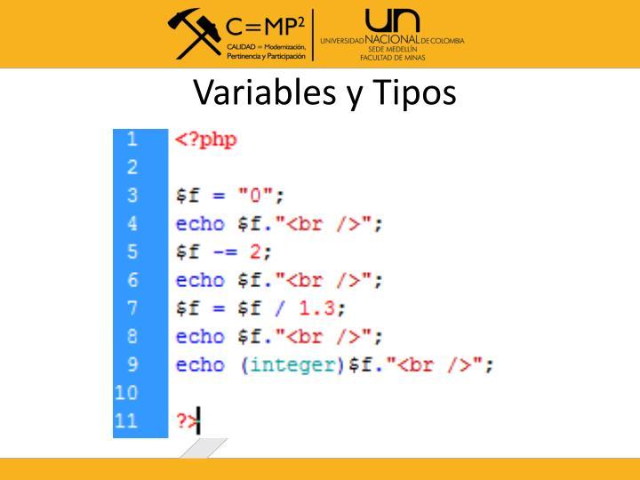 Variables y Tipos