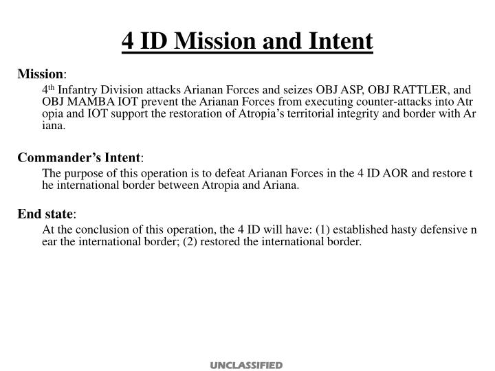 4 ID Mission and Intent