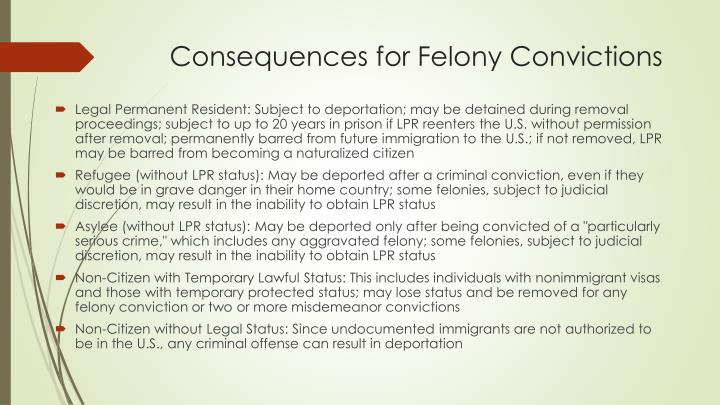 Consequences for Felony Convictions