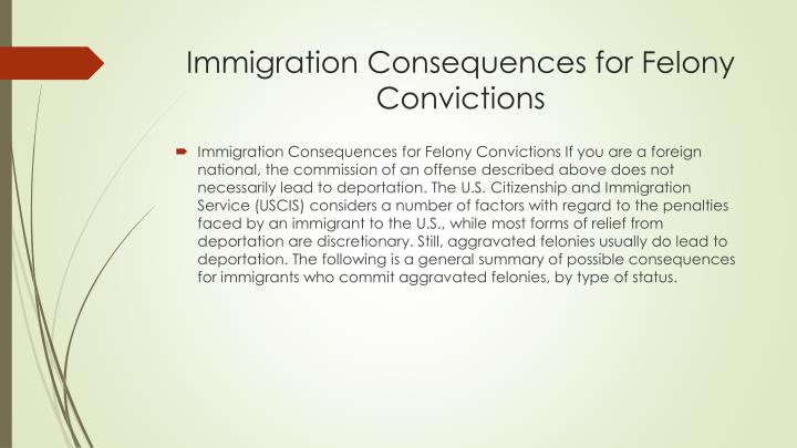 Immigration Consequences for Felony Convictions