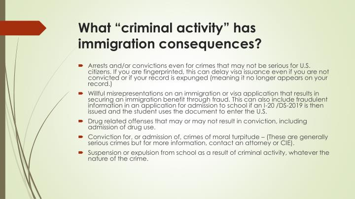 "What ""criminal activity"" has immigration consequences?"