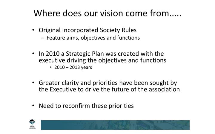 Where does our vision come from.....