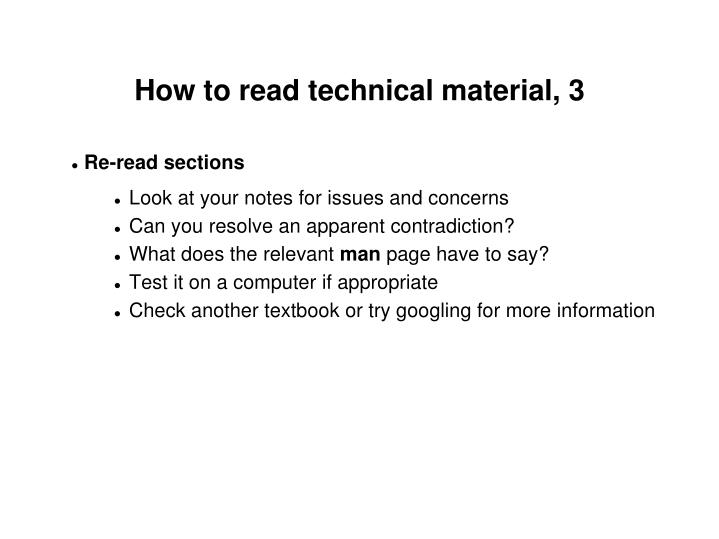 How to read technical material, 3