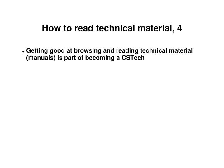 How to read technical material, 4