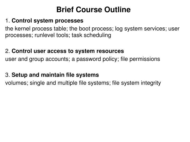 Brief Course Outline