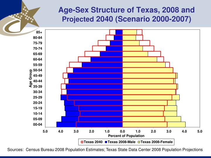 Age-Sex Structure of Texas, 2008 and