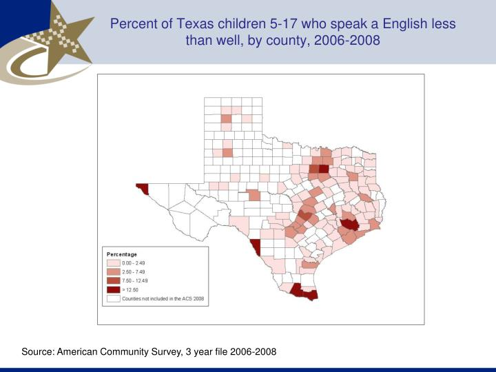 Percent of Texas children 5-17 who speak a English less than well, by county, 2006-2008