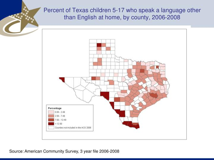 Percent of Texas children 5-17 who speak a language other than English at home, by county, 2006-2008