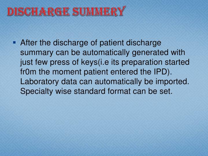 Discharge summery