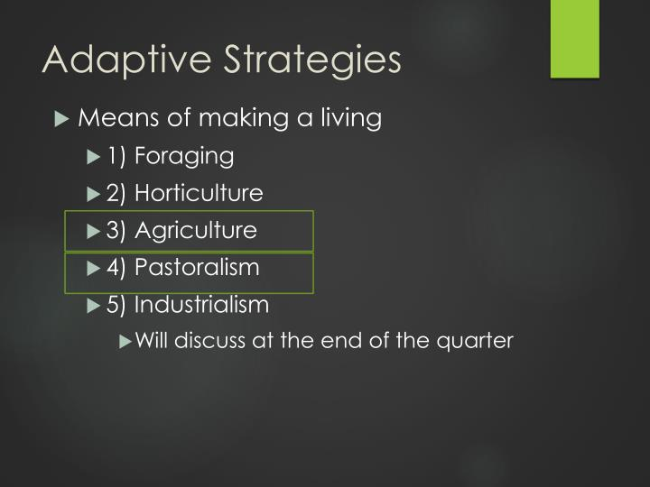 foraging pastoralism horticulture agriculture and insutrialism strategies used by different societie Strategies a horticulture b agriculture c pastoralism d industrialism correct answer: a 4 if a society uses irrigation, its food-getting (subsistence) system.