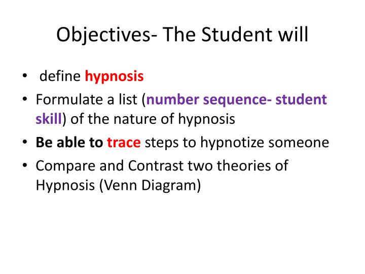 Objectives the student will