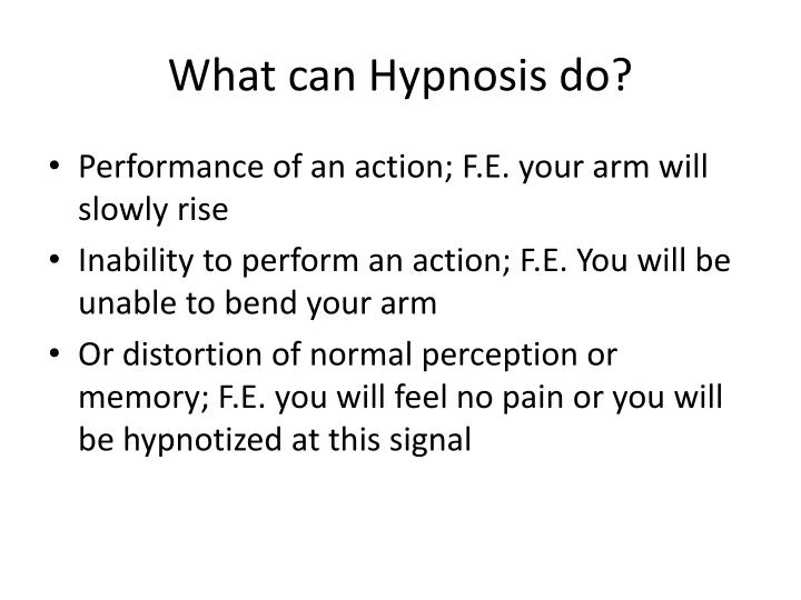 What can Hypnosis do?