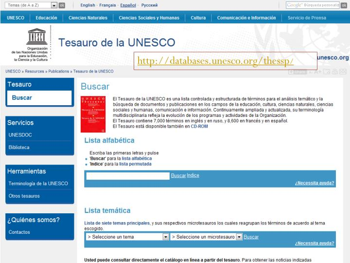 http://databases.unesco.org/thessp