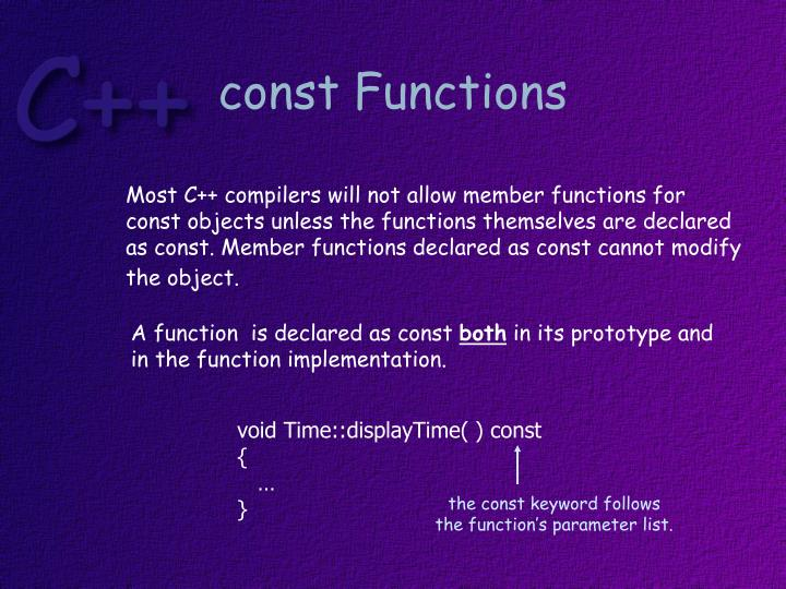 const Functions
