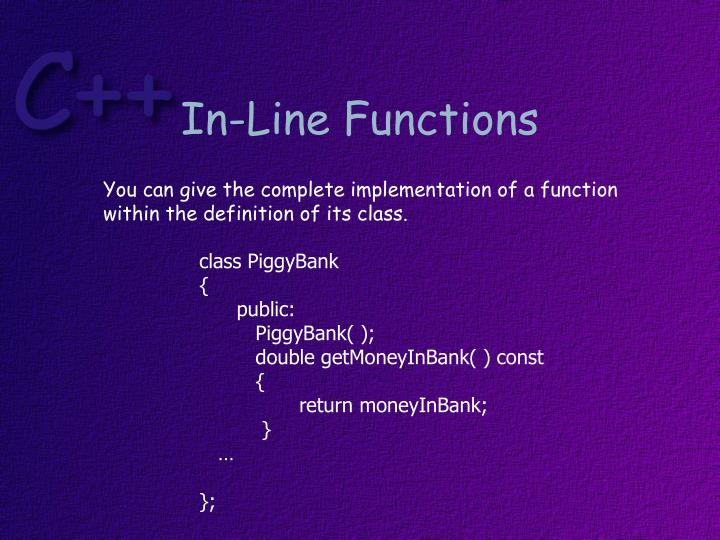 In-Line Functions