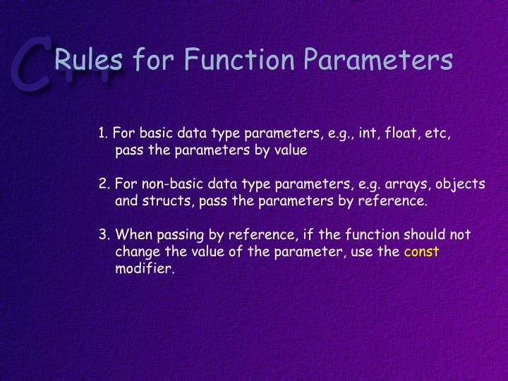 Rules for Function Parameters