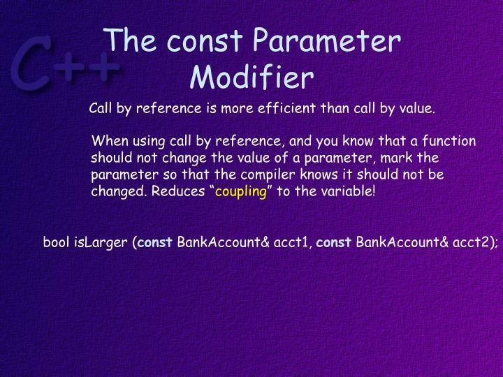 The const Parameter Modifier