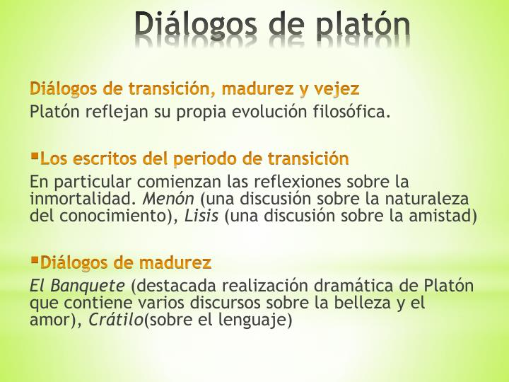 Diálogos de transición, madurez y vejez