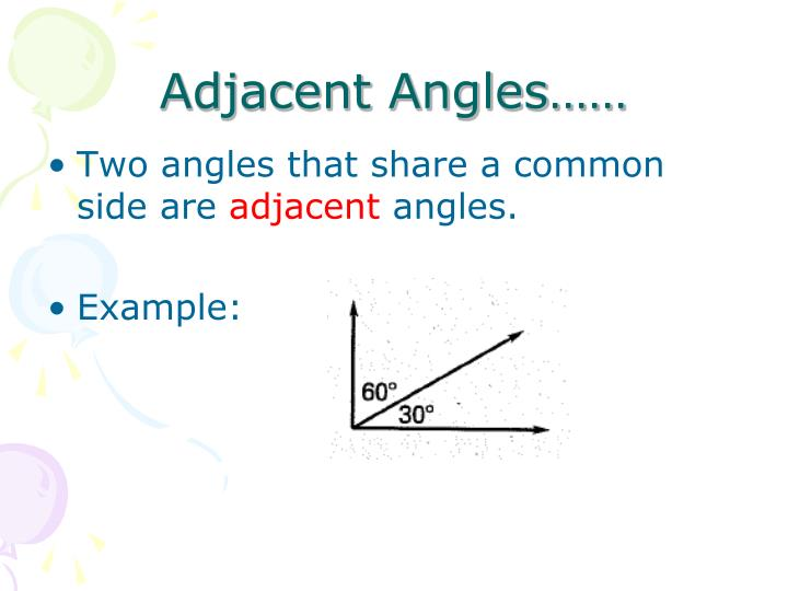 Adjacent Angles……