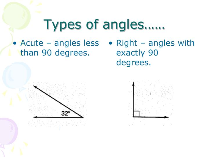Acute – angles less than 90 degrees.