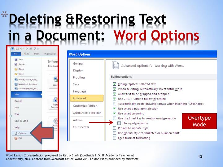 Deleting &Restoring Text