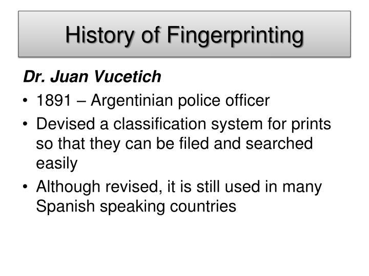 History of Fingerprinting
