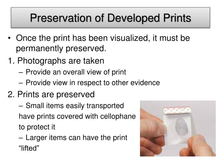 Preservation of Developed Prints