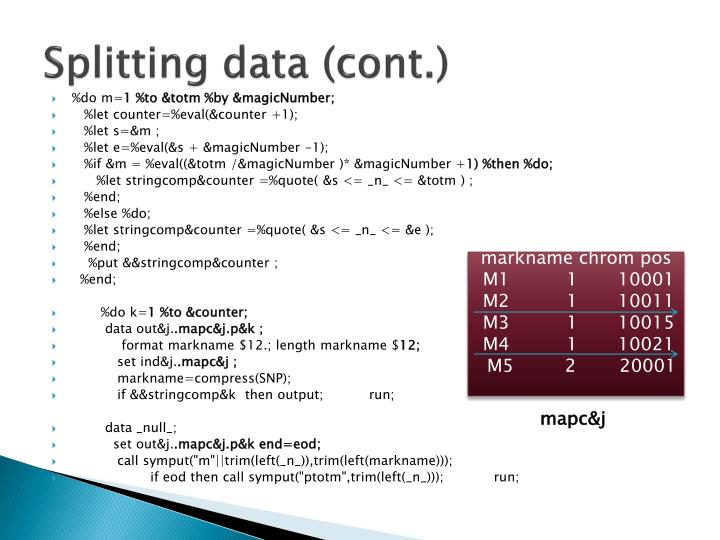 Splitting data (cont.)