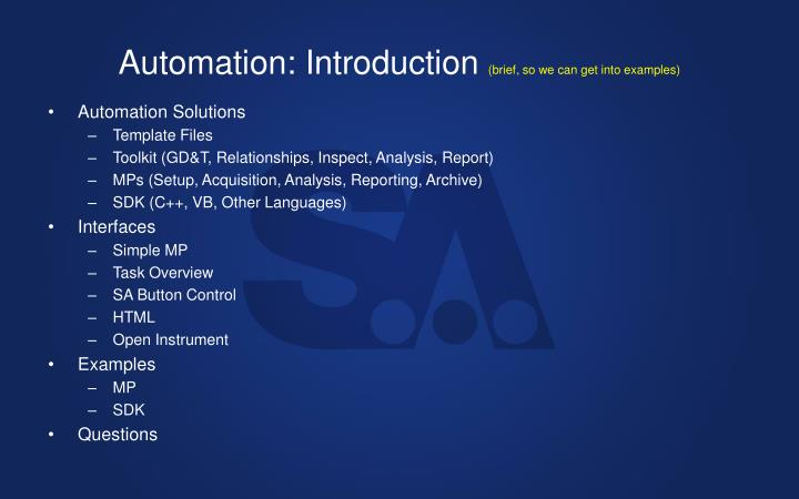 Automation: Introduction