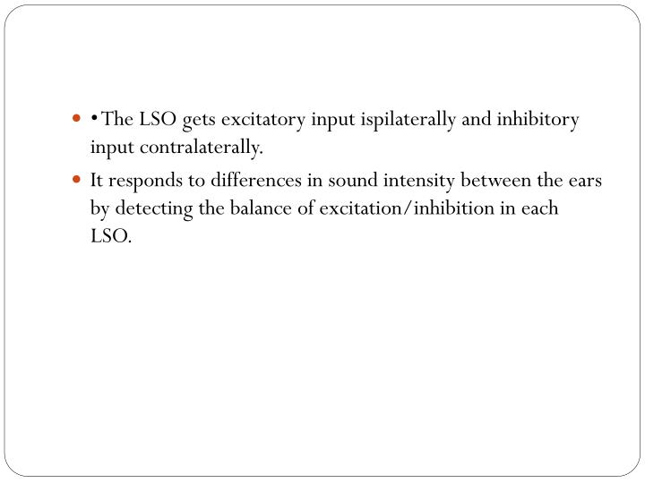 • The LSO gets excitatory input