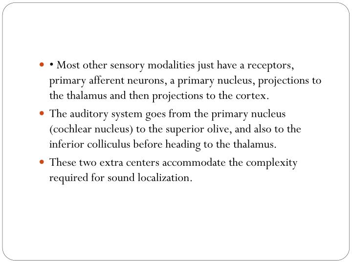 • Most other sensory modalities just have a receptors, primary afferent neurons, a primary nucleus, projections to the thalamus and then projections to the