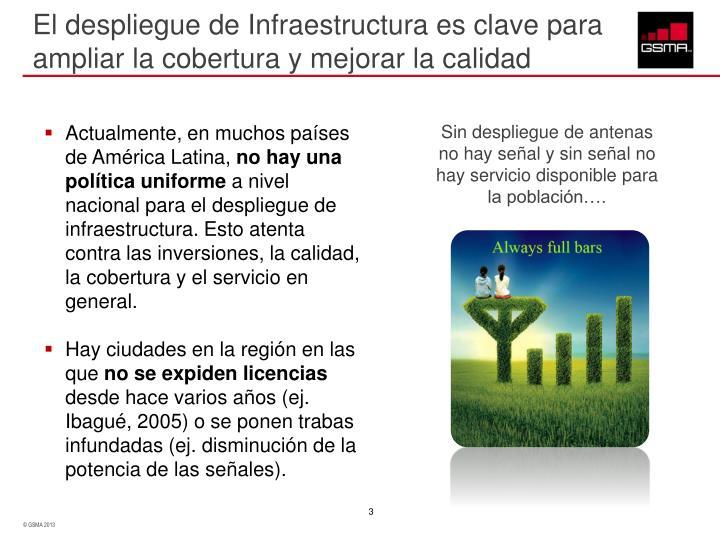 El despliegue de Infraestructura es clave para ampliar la cobertura y mejorar la calidad
