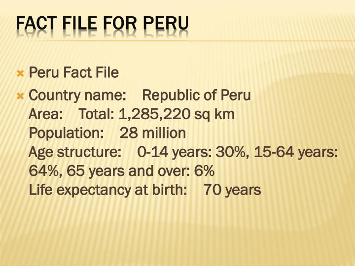 Peru Fact File