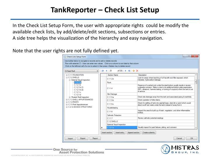 TankReporter – Check List Setup