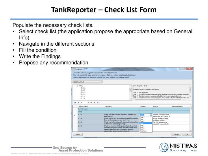 TankReporter – Check List Form