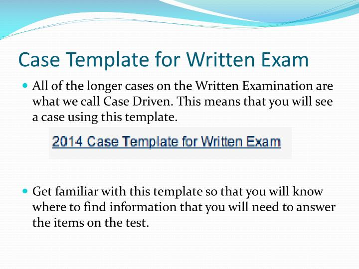 Case template for written exam