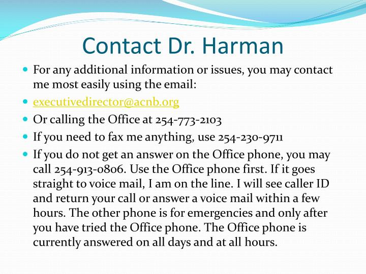 Contact Dr. Harman