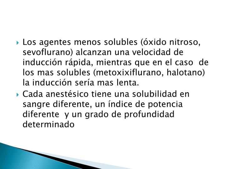 Los agentes menos solubles (óxido nitroso,