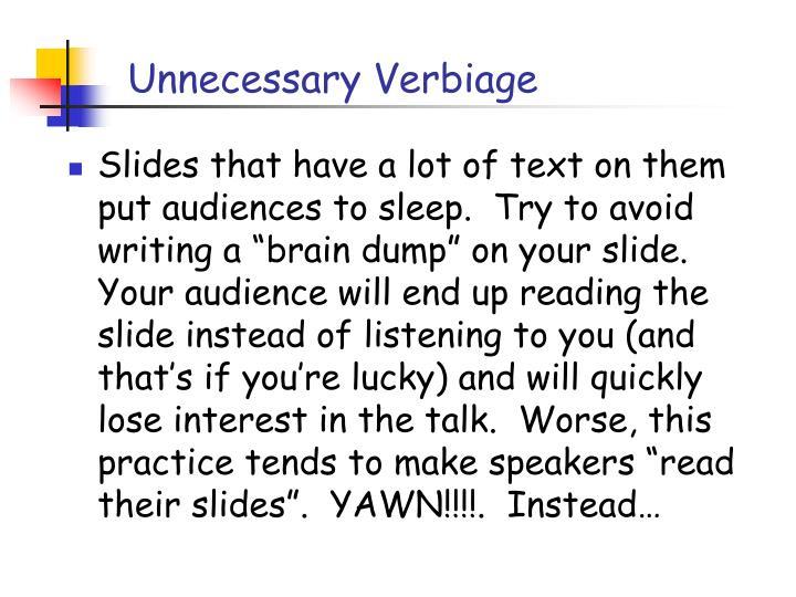 Unnecessary Verbiage