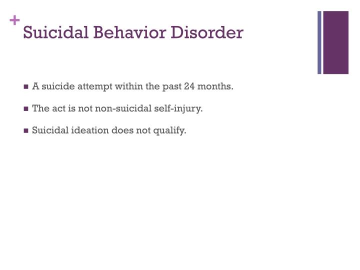 Suicidal Behavior Disorder