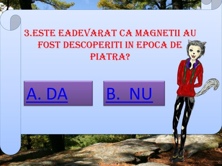 3.ESTE EADEVARAT CA MAGNETII AU FOST DESCOPERITI IN EPOCA DE PIATRA?