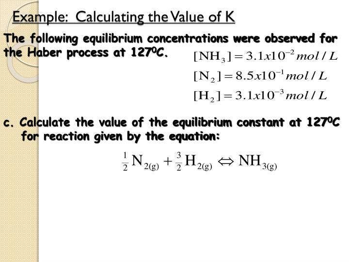 Example:  Calculating the Value of K