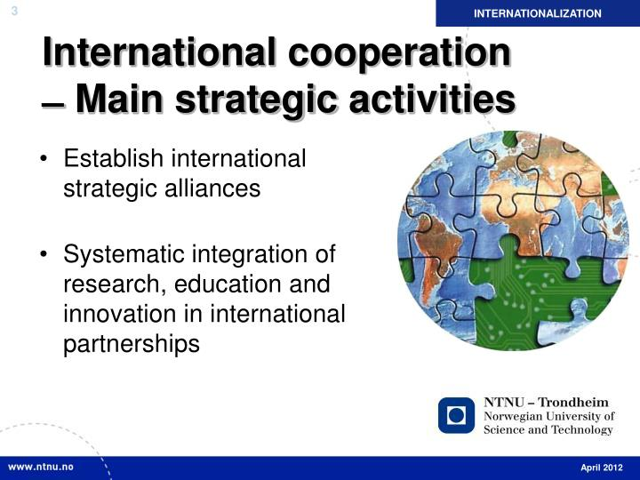 International cooperation main strategic activities